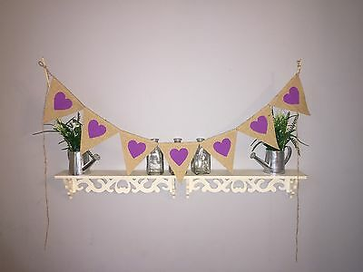 RUSTIC HEART BURLAP HESSIAN BUNTING VINTAGE WEDDING PHOTO PROP PURPLE