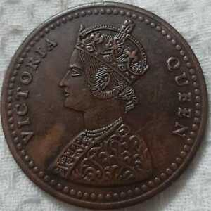 1818-Victoria-queen-2-two-Anna-east-India-company-rare-palm-size-temple-coin