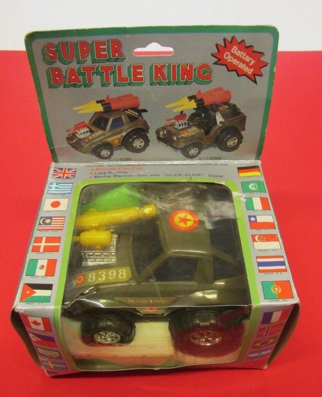 VINTAGE RARE SUPER BATTLE KING B O 8398 MILITARY POLICE CAR TOY MISSILES GUN NIB