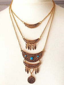 Bronze-Gold-Chain-Vintage-Tibet-Indian-design-Bohemian-necklace-Xmas-Gift-Idea