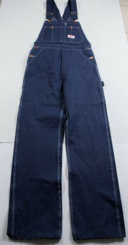 VTG NWT Men's Round House Blue Denim Bib Overalls Sz 29 x 31 Made In USA