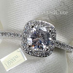 Genuine-Swarovski-Crystal-18k-White-Gold-Plated-Ring-Size-5-6-7-8-9-K-M-N-P-Q-S