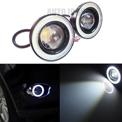"2pcs High Power 3.0"" Projector LED Fog Light w/ COB Halo Angel Eye Rings For Car"