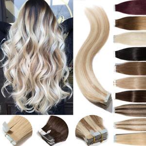 Laufschuhe 100% original feinste Auswahl Details zu 8A Remy 100g Tape In 100% Remy Extensions Echthaar  Haarverlängerung Blond Braun
