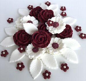 Burgundywhite roses wedding flower bouquet cake decorations edible image is loading burgundy white roses wedding flower bouquet cake decorations mightylinksfo
