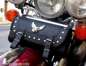 Bolsa-de-horquilla-piel-Aguila-tachuelas-Sportster-iron-forty-Harley-Softail