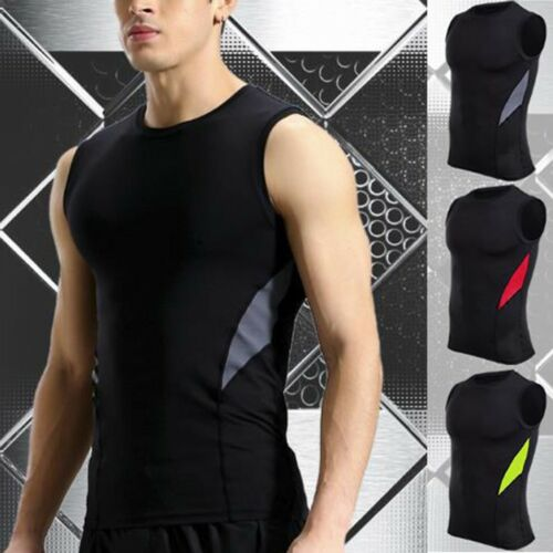 Mens Fitness Sleeveless Rashguard T-Shirt Bodybuilding Skin Tight-drying Tops