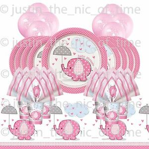 BABY-SHOWER-GIRL-PARTY-PACK-stoviglie-KIT-BABY-ELEFANTI-CON-Elio-Palloncini