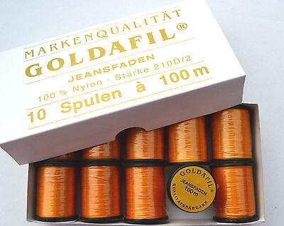 Nähgarn für Jeans 10 Spulen x 100 m hochreissfest ocker/orange (€ 1.20/100 m)