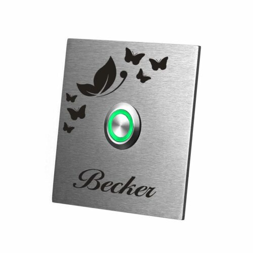 Gravur Motiv Schmetterlinge LED Edelstahlklingel Türklingel Model Falke inkl