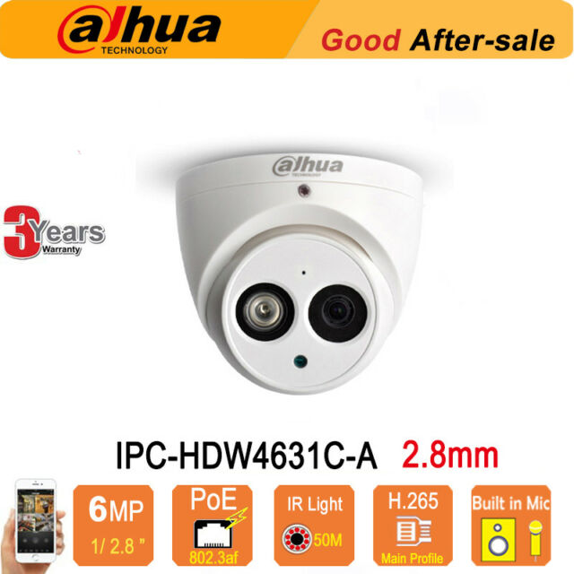 3.6mm 6MP POE H.265 Built-in Mic 50M IR Network Dome Camera DaHua HDW4631C-A