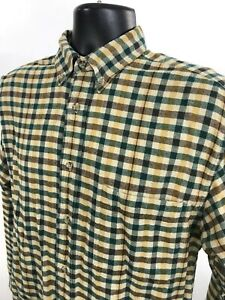 Eddie-Bauer-Flannel-Shirt-Mens-S-Small-Green-Yellow-Check-Long-Sleeve
