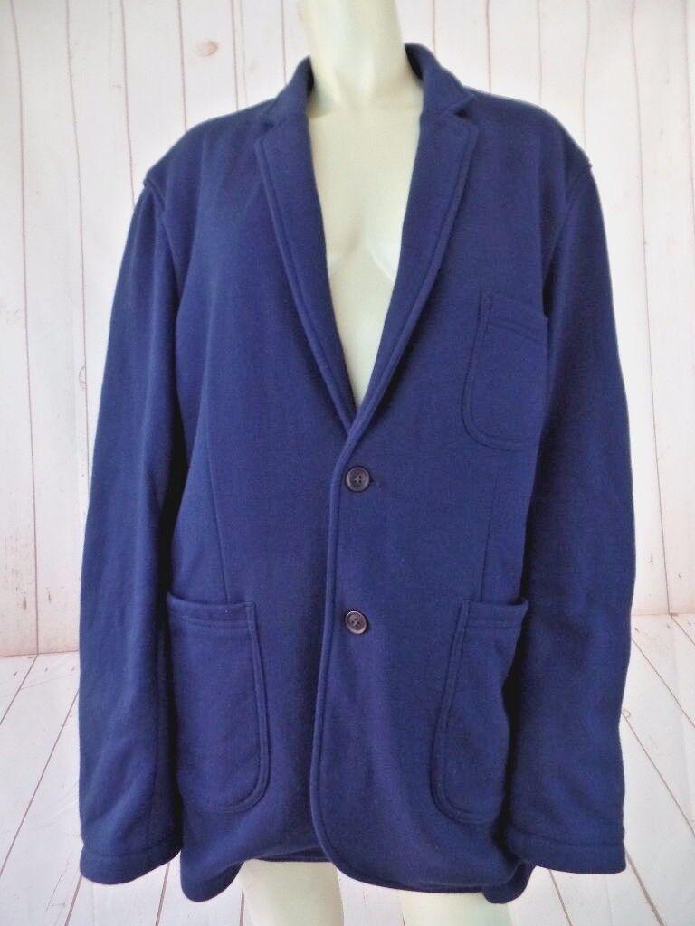 Frank & Oak Blazer XL Navy Cotton Poly Stretch Sweat Material Button Front Comfy