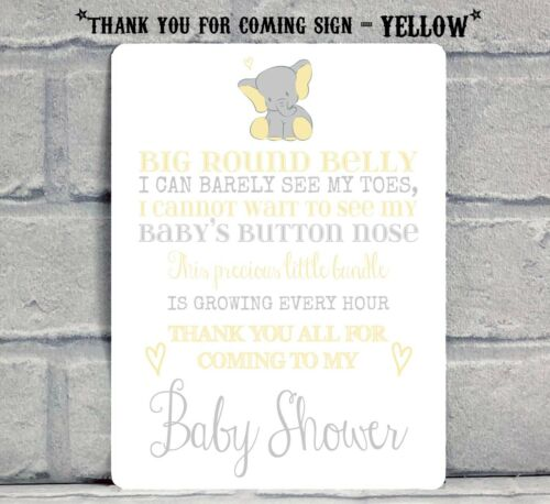 ELEPHANT A5 Boy Girl Baby Shower Thank You For Coming Table Sign Decoration