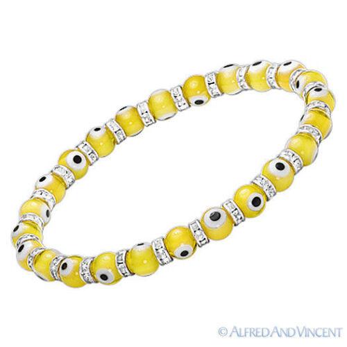 Mauvais Oeil Verre 6 mm turque NAZAR Hamsa Judaica Cabbale Beaded Stretch Bracelet