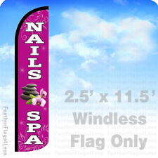Nails Amp Spa Windless Swooper Flag Feather Banner Sign 25x115 Pz