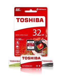 32GB-Sd-Toshiba-Exceria-Speicherkarte-fuer-DSLR-Digitalkamera-Klasse-10-U3-SDHC