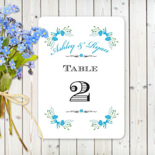 """/""""FANTAISIE FLORALE/"""" Bleu Blanc ou Ivoire Carte Personalised table numéro cartes"""
