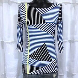 XS - TRIBAL Womans Blue Geometric Striped Top