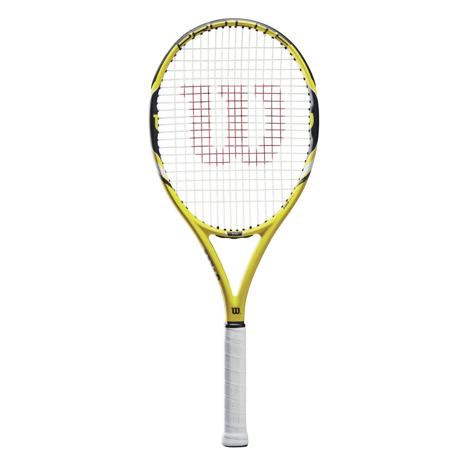 Wilson Pro Lite 100 Gelb besaitet Griff L2  4 1 4 Tennischläger Tennis Raquet