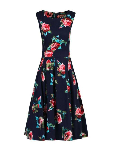 62e393bd08b9 Jolie Moi Floral Print Pleated Swing Dress Navy Size UK 8 rrp £68 DH083 ii