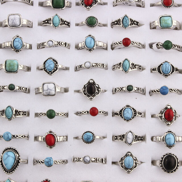 Mixed Gemstone Antique Design Handmade Wholesale Lot Ring Jewelry Mixed Size