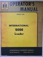 International Ih 2000 Front Loader Tractor Owner Amp Parts Catalog Manual Farm