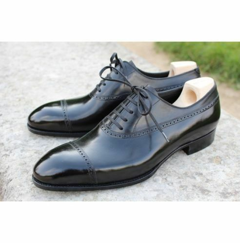 MEN HANDMADE BLACK BROGUE FORMAL REAL QUALITY LEATHER SHOES FOR MENS