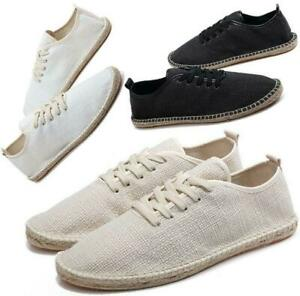 mens casual lace up flat espadrilles canvas loafers