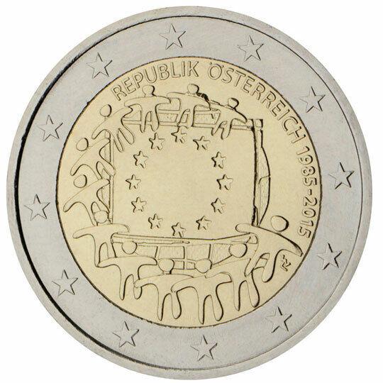 FidèLe 2 Euros Autriche 2015 30e Anniversaire Du Drapeau De L'union Européenne êTre Hautement Loué Et AppréCié Par Le Public Consommateur