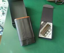 Vector Single Torch Cigar Lighter, Cutter and Mantello 3 Finger Cigar Holder
