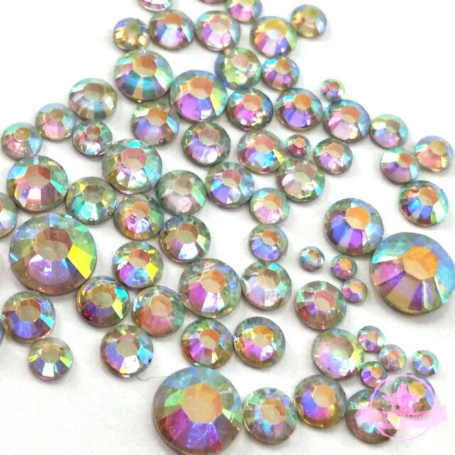 400 2mm-6mm Resin Crystal AB round Rhinestones Flatback nail art Mix SIZE M1-30