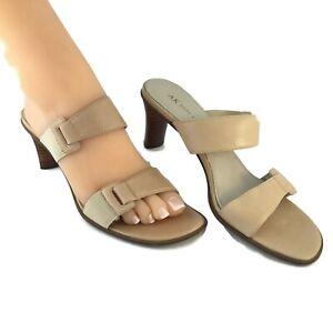 Ann-Klein-Heel-Sandals-Womens-8-5-M-Beige-Tan-Leather-3-034-Hi-Strap-Mule-Shoes