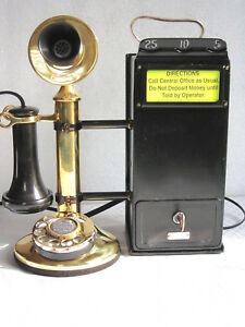 WESTERN-ELECTRIC-amp-GRAY-HOTEL-PAY-TELEPHONE-SOLID-GRASS-DIAL-CANDLESTICK-1909