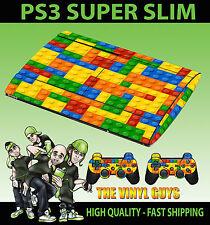 Playstation Ps3 Super Slim Juguete Pared De Ladrillos Bloques Skin Sticker & 2 Pad Skins