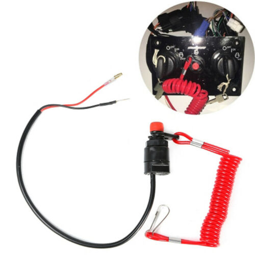 Universal Safety Tether Lanyard Push Button Boat Engine Motor Kill Stop Switch