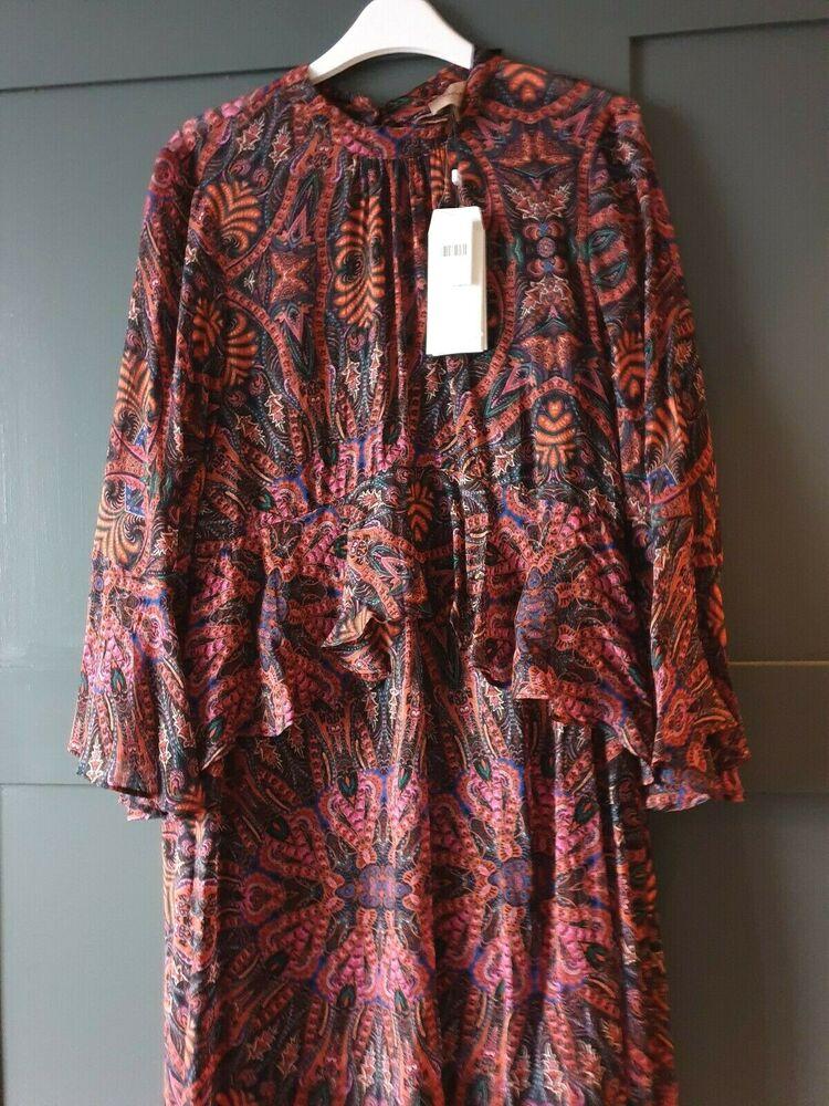 Anthropologie Kachel Ruffle Dress Uk 12 £ 180.00 ** Bouton Manquant à L'arrière Du Cou