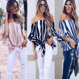 f63cbd09731817 New Womens Striped Loose Sexy Off Shoulder Blouse Tops Baggy Casual ...