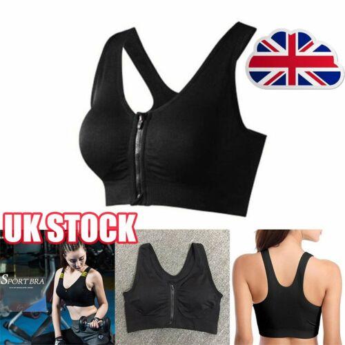 Women/'s Ladies Sport Bra High Impact Front Zip Wireless Padded Vest Tank Top D@