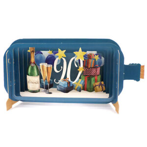 Message In A Bottle Champagne 90th Pop Up Birthday Greeting Card By Alljoy Cards