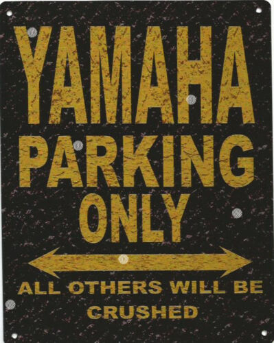 YAMAHA METAL PARKING SIGN RUSTIC STYLE car tin shed garage workshop