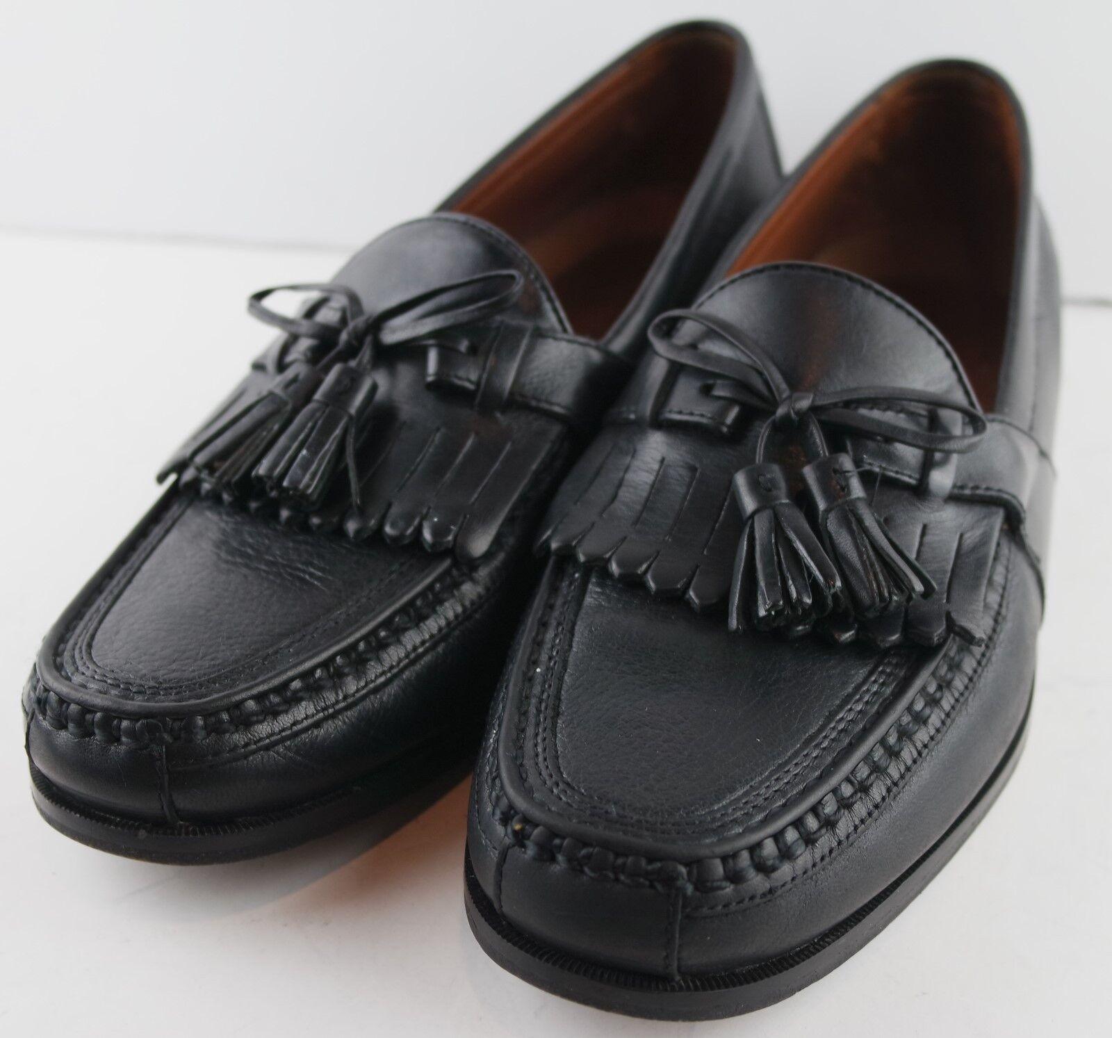 Johnston & Murphy Kiltie 020-0593 Mens Tassel Black Loafers Moc Toe Size 9M