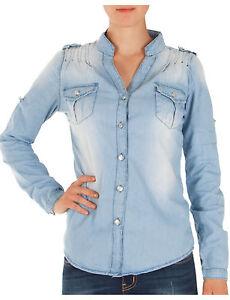 Damen Damen Langarm Jeansbluse Jeanshemd Kragen Hemdbluse Jeans Bluse Hemd Shirt