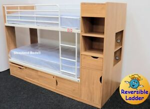 3ft Platinum Bunk Beds With Extra Storage Oak Or Beech Finish