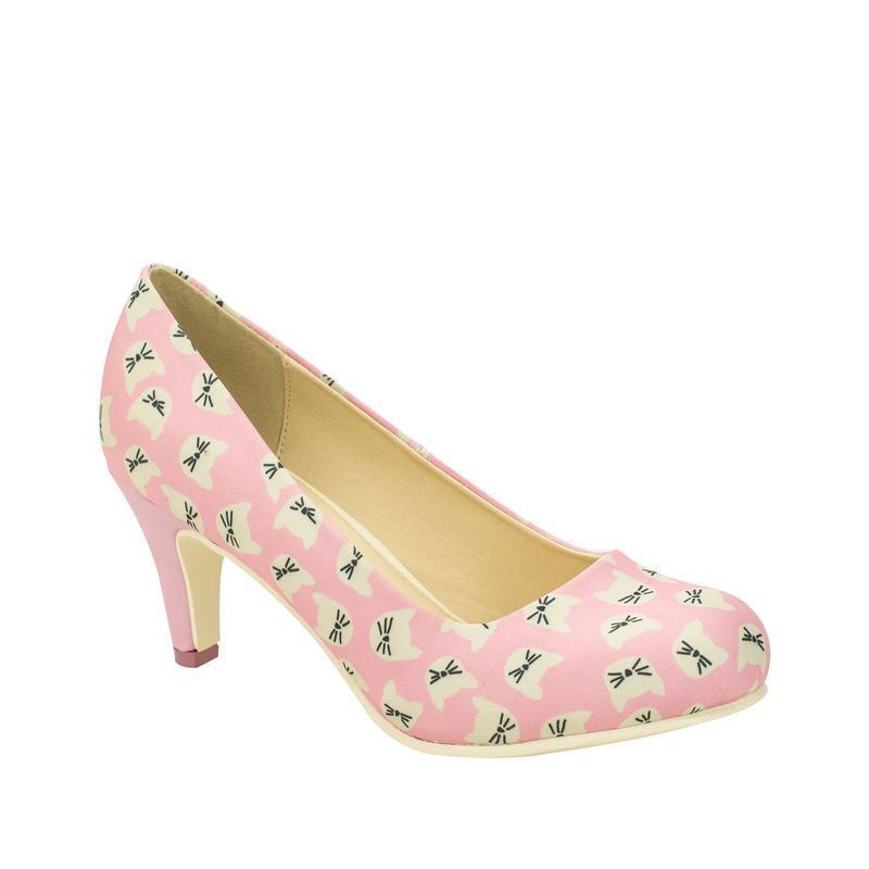 T.U.K A8852L B Ware All Over Kitty Face Anti Pop Heel in Pink / Cream