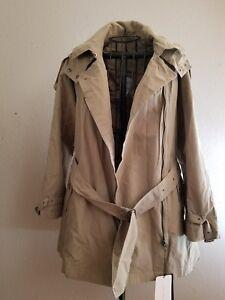 ad1c686f $139 NWTS ZARA Woman Beige Zipper Hood Belt Short Trench Coat Jacket ...