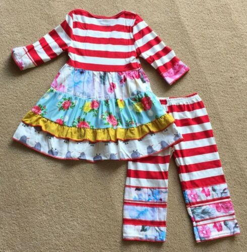NEW Boutique Girls Striped Chevron Floral Ruffle Tunic Dress Leggings Outfit Set