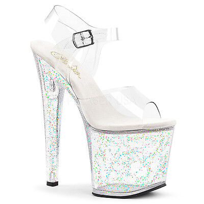 "7/"" Silver Glitter Platform Pole Dancer Stripper Heels Pleaser Shoes Adore 7 8 9"