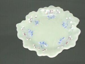 Antique Celadon Enameled  Meiji (1850-1899) Handmade Hand Painted Dish