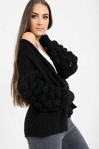 Ladies-Womens-Knitted-Bobble-Bubble-Sleeve-Cardigan-Chunky-Knit-Sweater-Jumper